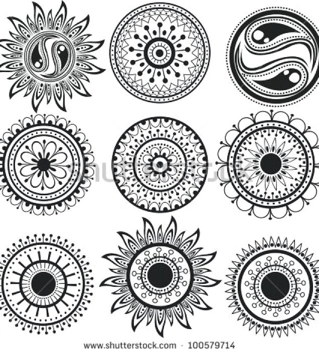 636x705 Diy Mandala Flower Tattoos Designs