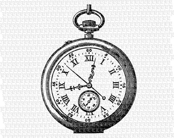 570x452 Digital Victorian Style Pocket Watch Clip Art Clock Face Vintage