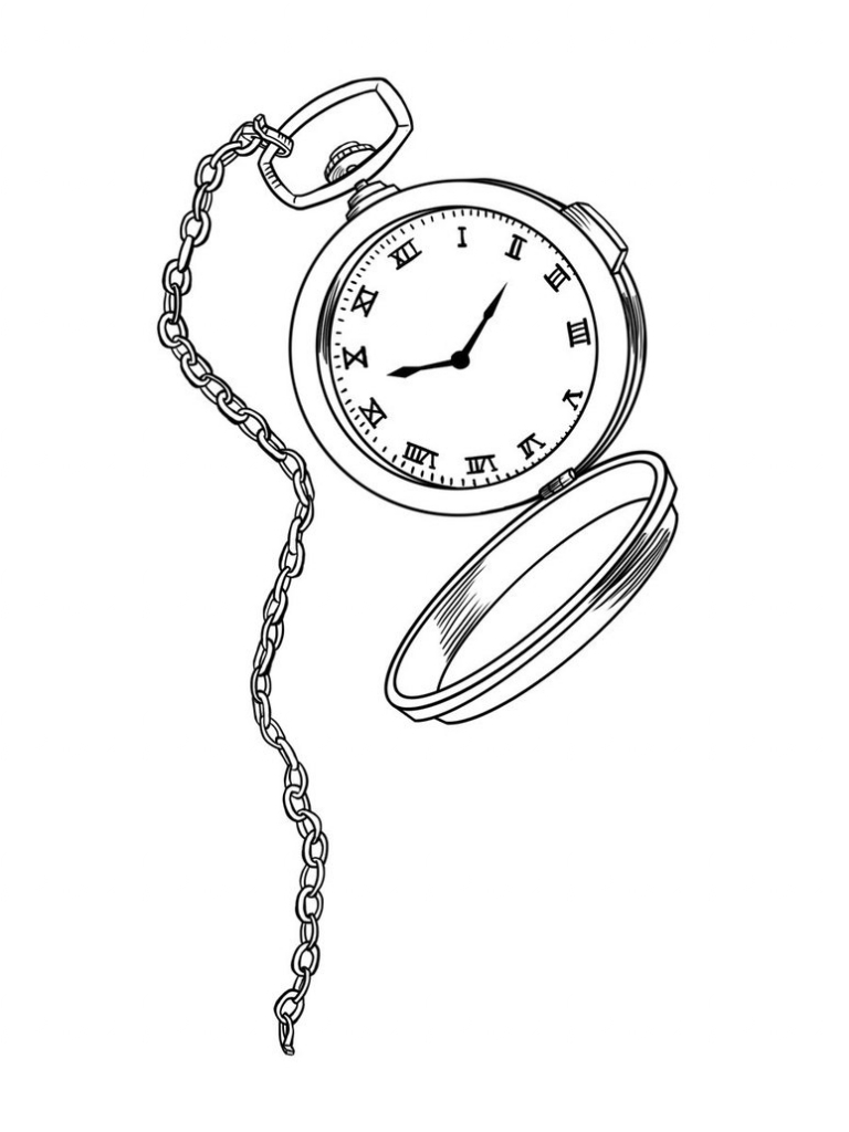 768x1024 Pocket Watch Drawing Line Drawing Pocket Watch Google Search Line