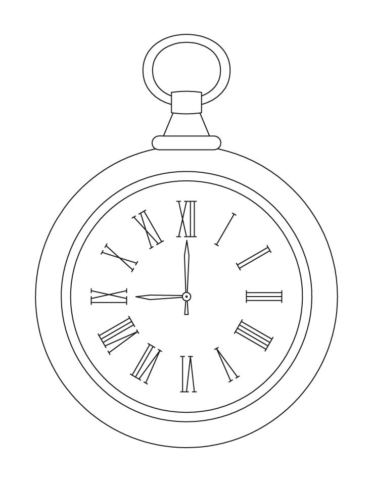 738x954 Pocket Clock Coloring Pages Download Free Pocket Clock Coloring