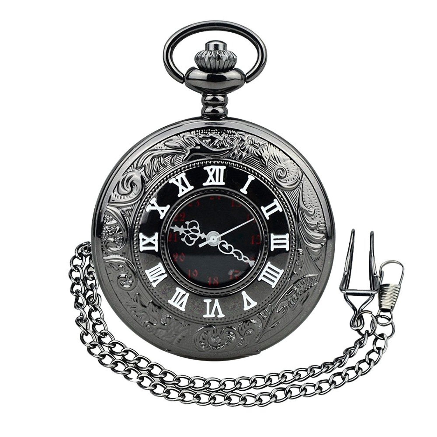 1500x1500 Bestfire Pocket Watch Black Roman Retro Vintage Quartz Pocket