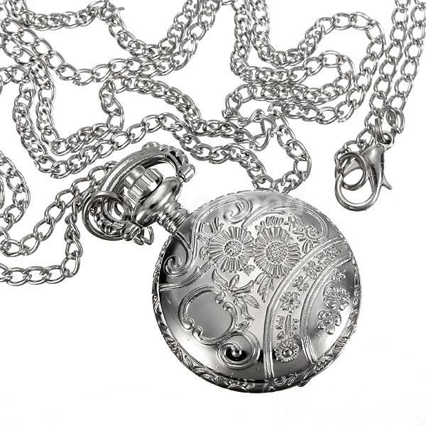600x600 Dreamclub Antique Silver Hollow Round Pocket Watch Necklace Chain