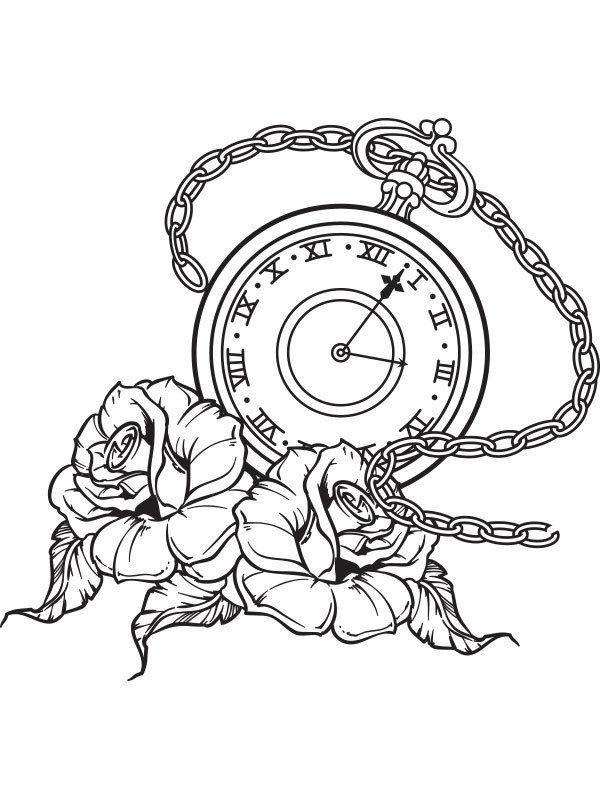 600x800 Pocket Watch, Roses Tattoo Flash Wall Art Sticker Vinyl Pocket