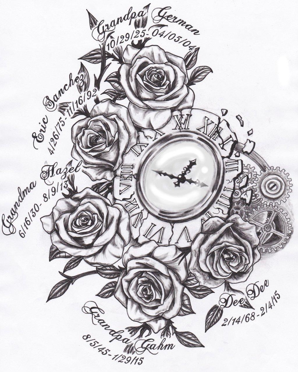 Rose Clock Tattoo Designs Drawing: Pocket Watch Tattoo Drawing At GetDrawings