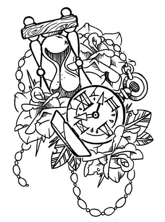 559x751 Hourglass With Clock And Flowers Old School Tattoo Design By
