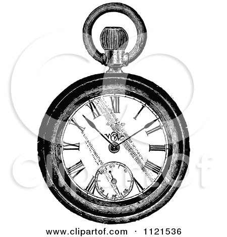 450x470 Clipart Of A Vintage Black And White Pocket Watch