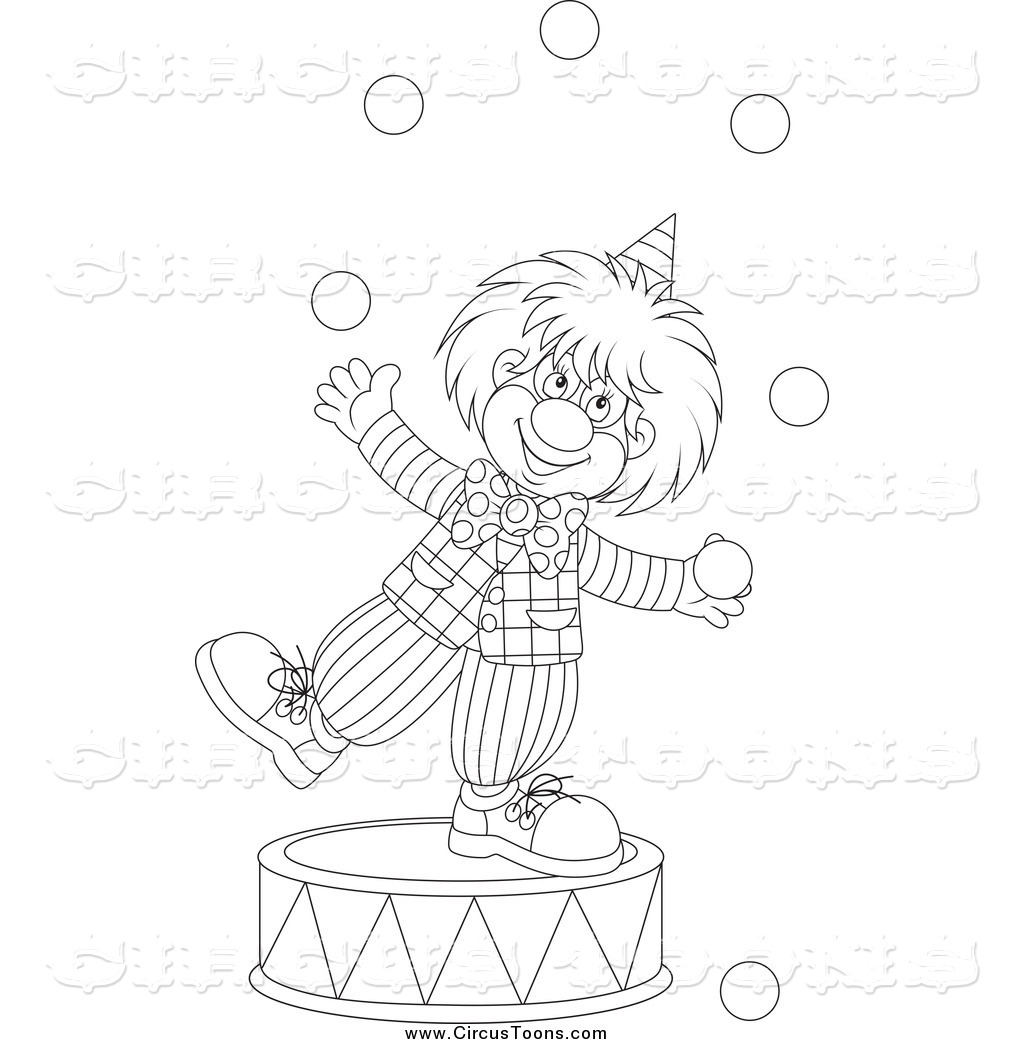 1024x1044 Circus Clipart Of A Black And White Clown Juggling On A Podium By