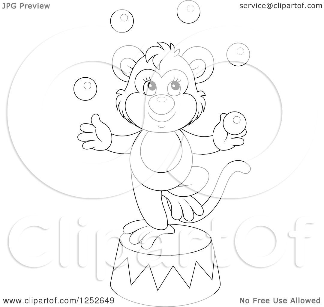 1080x1024 Clipart Of Blacknd White Circus Monkey Juggling Balls On