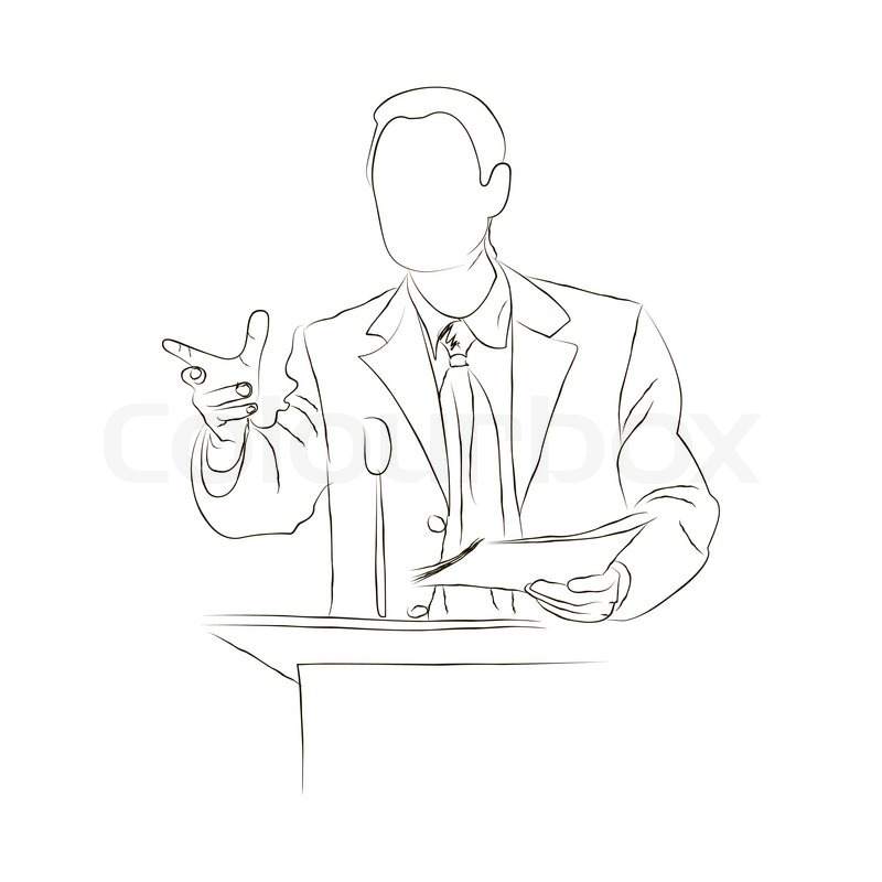 800x800 Sketch Doodle Orator Stands Behind A Podium Stock Vector Colourbox