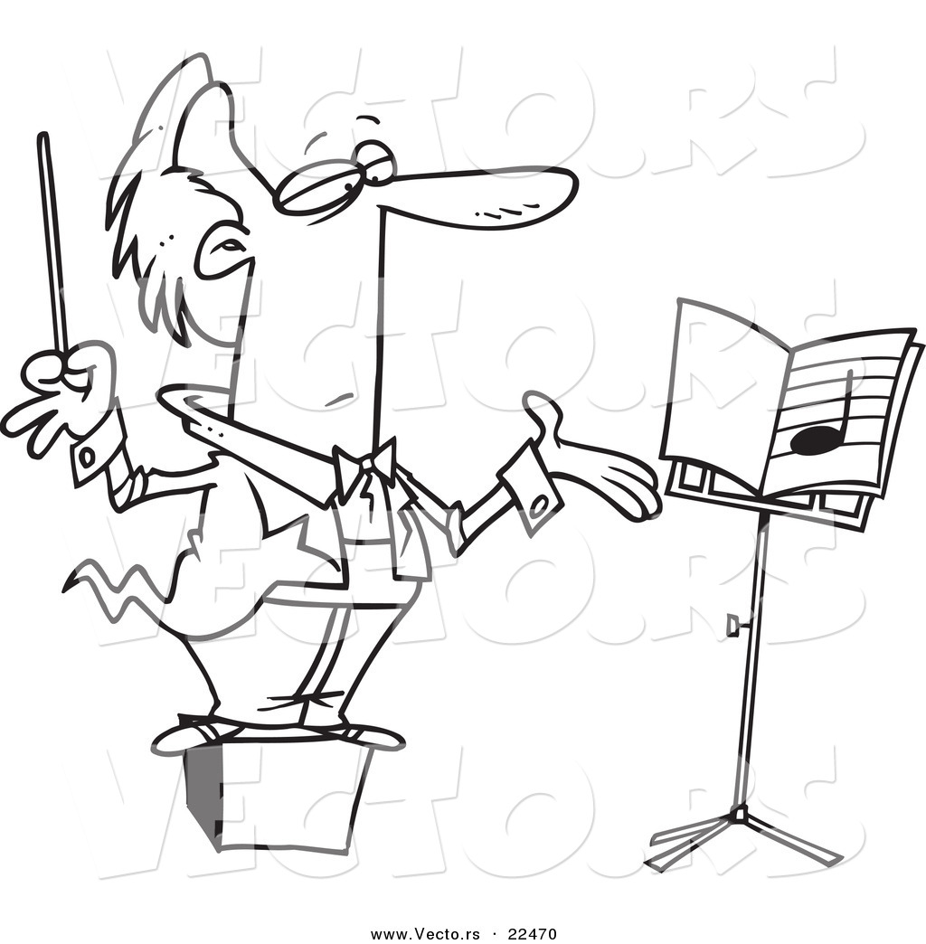 1024x1044 Vector Of A Cartoon Conductor On A Podium