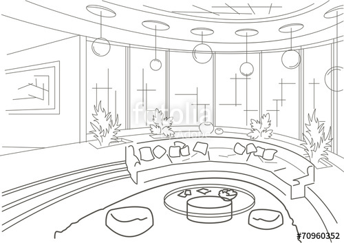 500x353 Sketch Interior Of A Round Living Room With Podium Stock Image