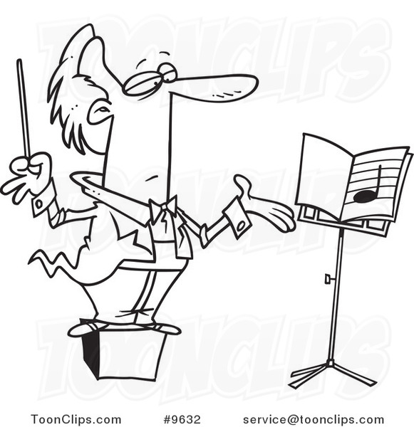 581x600 Cartoon Black And White Line Drawing Of A Conductor On A Podium