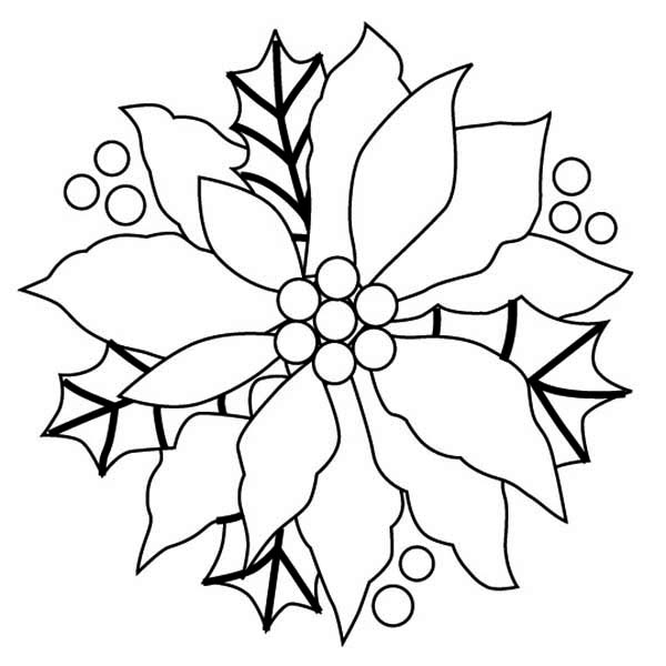 600x600 Christmas Wreaths With Poinsettia Flower Coloring Page