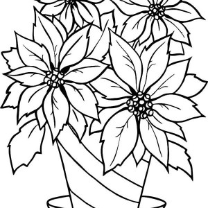 300x300 Poinsettia Flower Bloom In December Coloring Page Poinsettia
