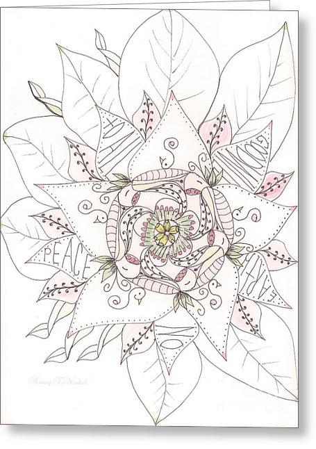 455x646 Christmas Peace Poinsettia Drawing By Nancy Tewinkel Lauren