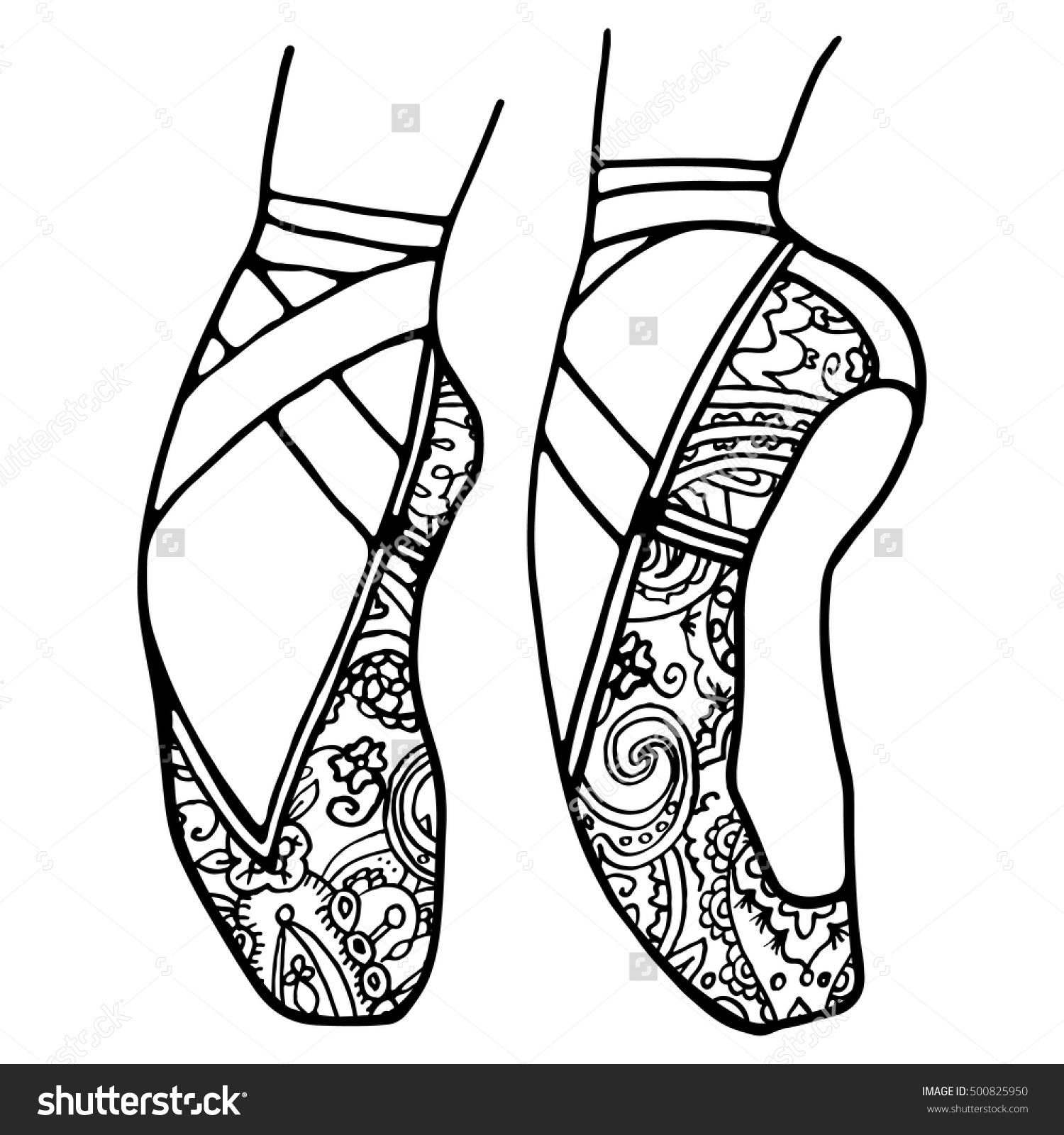 ballerina slippers coloring pages - photo#27