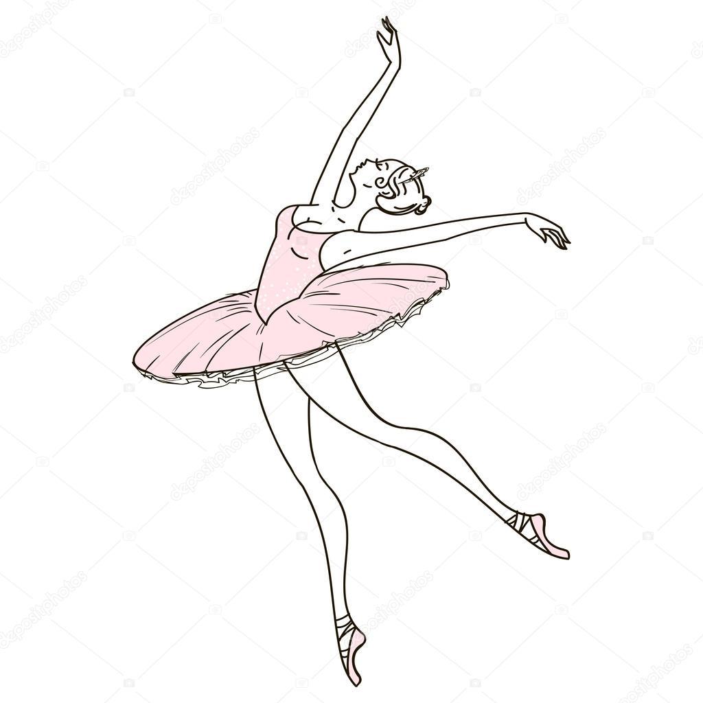 1024x1024 Beautiful Hand Drawn Ballerina Stock Vector Werij@mail.ru