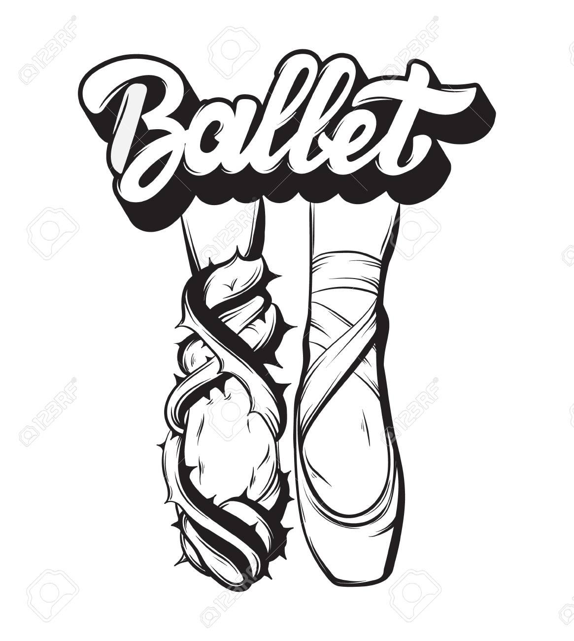 1165x1300 Ballet. Vector Handwritten Lettering With Hand Drawn Creative