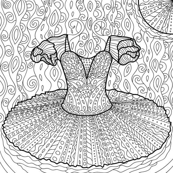 570x570 Tutu Ballet Coloring Page Zentangle Dance Coloring Book Bale4