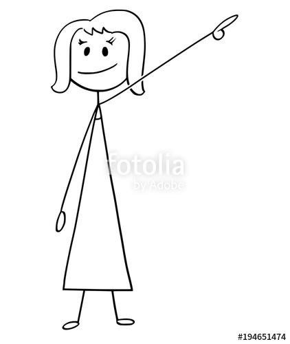 422x500 Cartoon Stick Man Drawing Conceptual Illustration Of Businesswoman