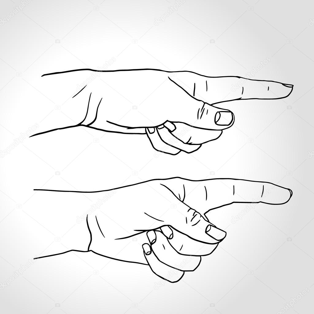 1024x1024 Hand With Pointing Finger (Vector Illustration), Pointing Fingers