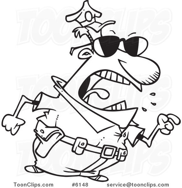 581x600 Cartoon Black And White Line Drawing Of A Mad Police Guy Pointing
