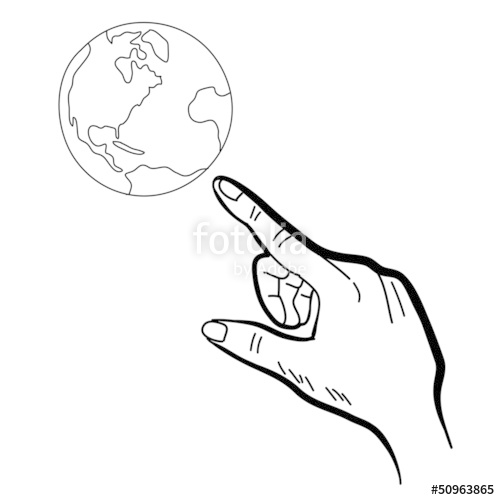 500x500 Hand Drawing Hand Pointing Globe Stock Image And Royalty Free