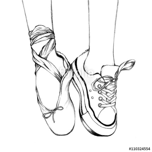500x500 Foot Wear Pink Ballet Shoes And White Sneakers. Hand Drawn