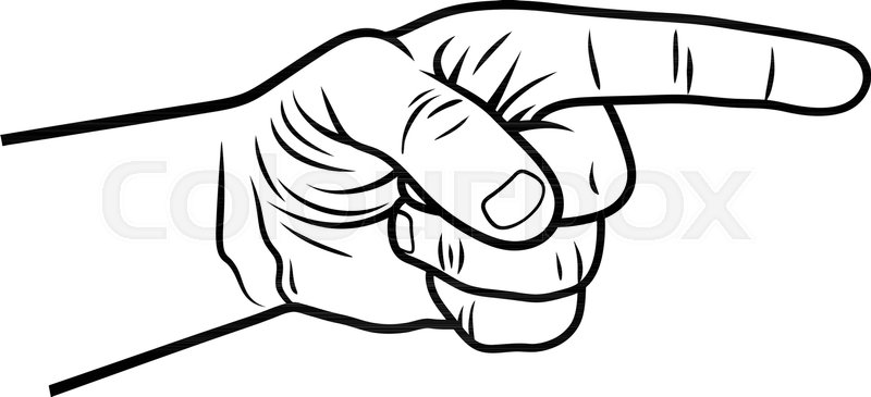 800x365 Pointing Hand. Vector Illustration Of A Pointing Finger. Hand