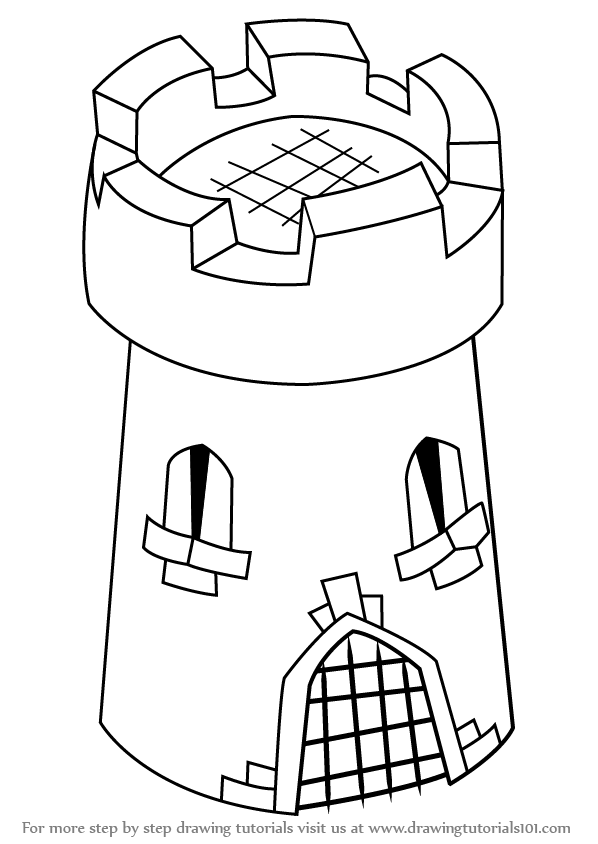 598x844 Learn How To Draw 3d Castle Tower For Kids (Castles) Step By Step