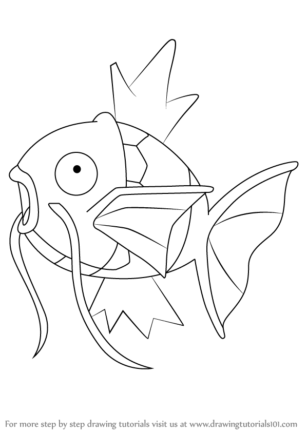 598x844 Learn How To Draw Magikarp From Pokemon (Pokemon) Step By Step