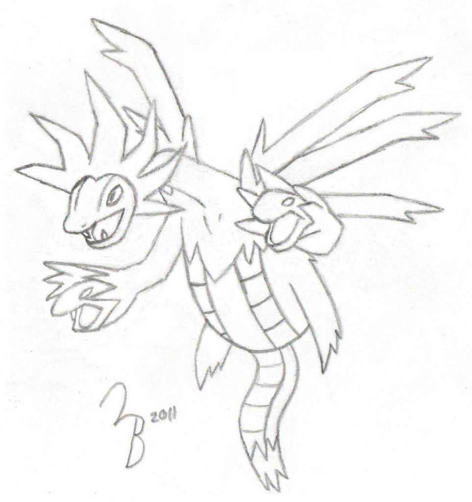 963x1024 Pencil Drawings Of Pokemon Pokemon Hydreigon Sketch Lazy Bing