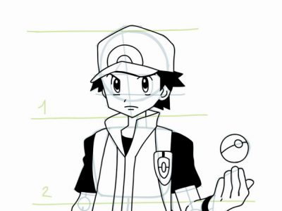 400x300 How To Draw Pokemon Trainer Red