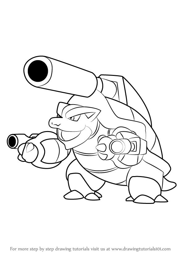 596x843 Learn How To Draw Mega Blastoise From Pokemon (Pokemon) Step By