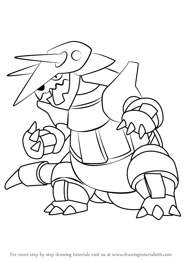 596x842 Learn How To Draw Aggron From Pokemon (Pokemon) Step By Step