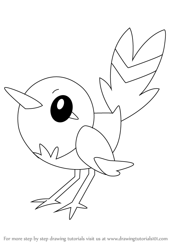 597x844 Learn How To Draw Fletchling From Pokemon (Pokemon) Step By Step