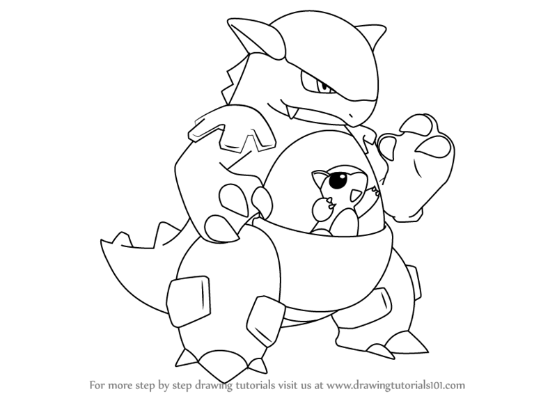 800x566 Learn How To Draw Kangaskhan From Pokemon (Pokemon) Step By Step