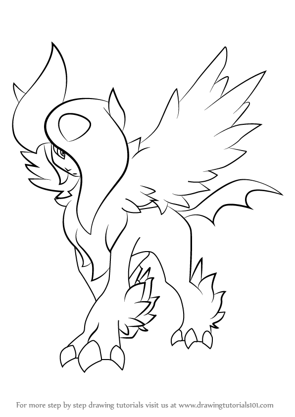 596x842 Learn How To Draw Mega Absol From Pokemon (Pokemon) Step By Step