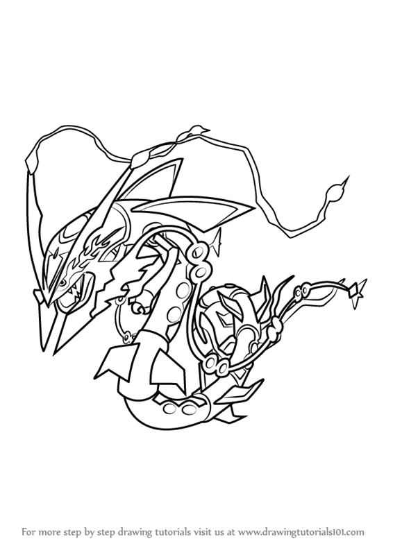 566x800 Learn How To Draw Mega Rayquaza From Pokemon (Pokemon) Step By