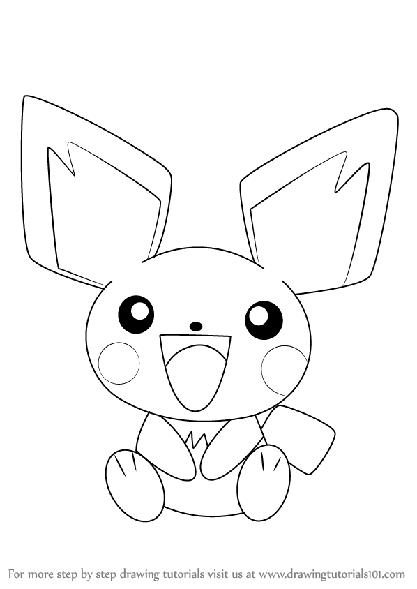 598x844 Learn How To Draw Pichu From Pokemon (Pokemon) Step By Step