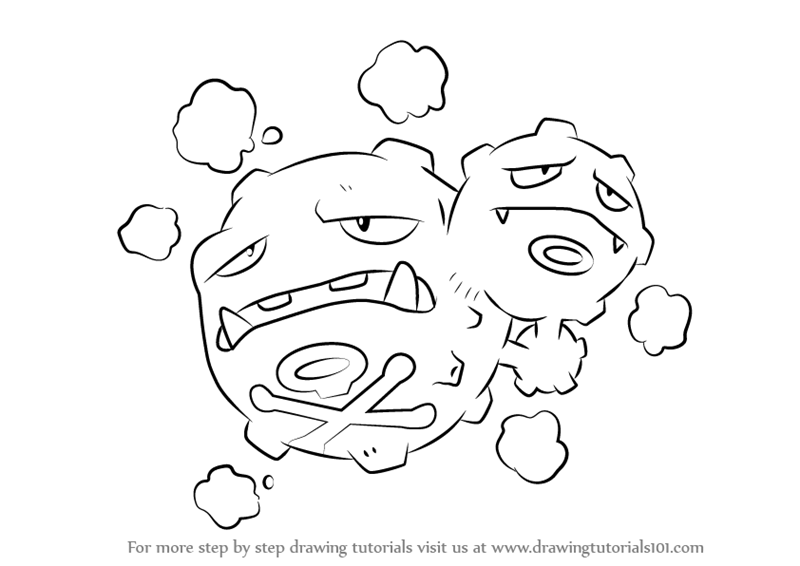 800x566 Learn How To Draw Weezing From Pokemon (Pokemon) Step By Step