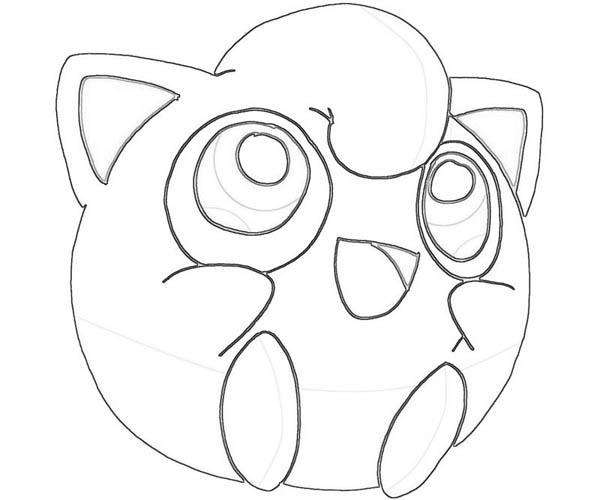 600x500 Jigglypuff Pokemon Character Coloring Page