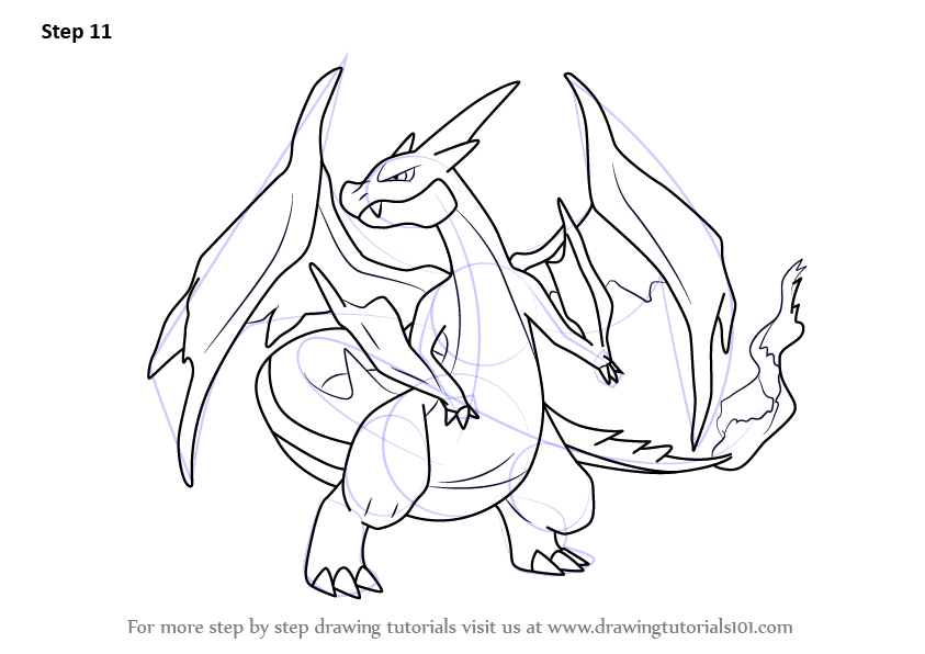 843x596 Learn How To Draw Mega Charizard Y From Pokemon (Pokemon) Step By