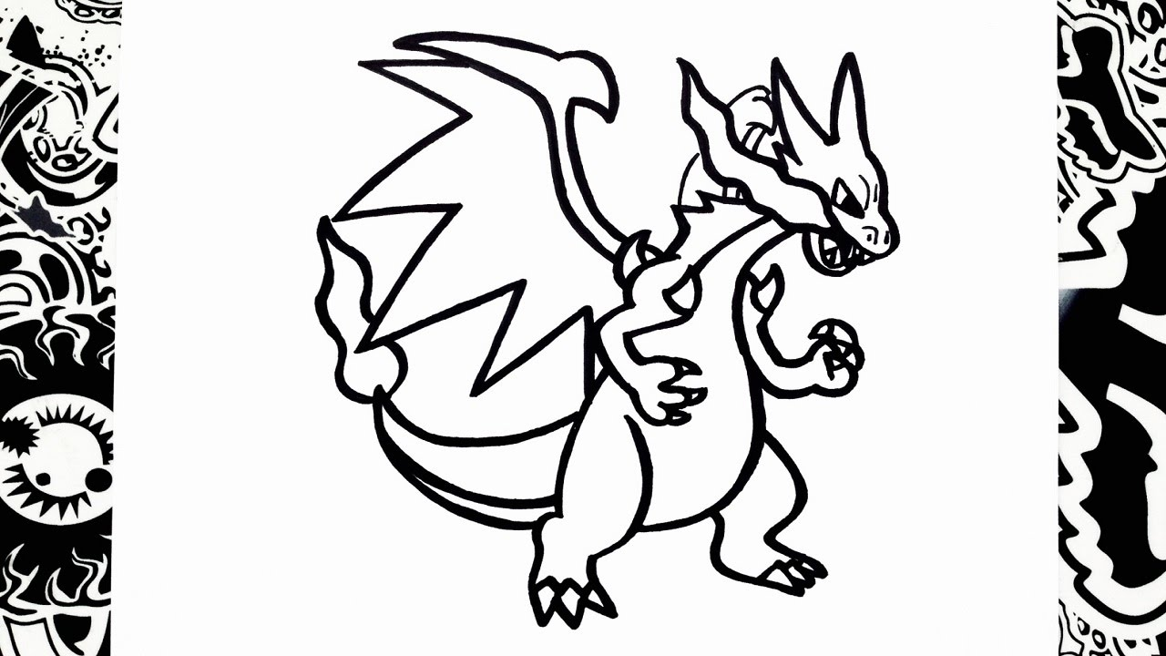 1280x720 Como Dibujar A Mega Charizard X How To Draw Mega Charizard