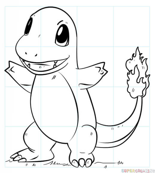 517x575 How to draw Charmander Pokemon Step by step Drawing tutorials