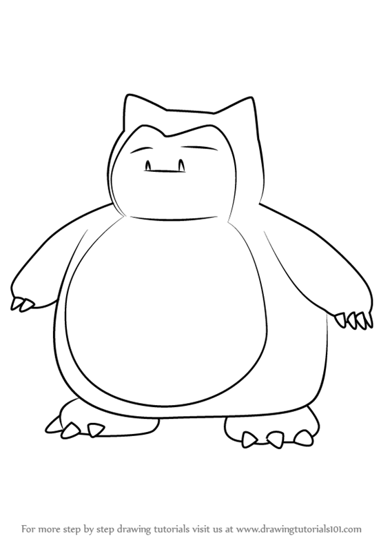 566x800 Learn How To Draw Snorlax From Pokemon Go (Pokemon Go) Step By
