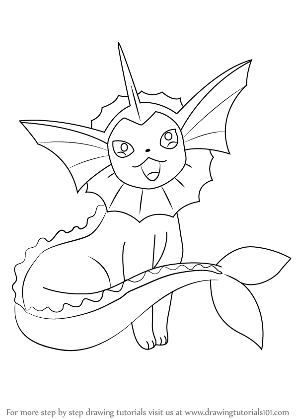 598x844 Step By Step How To Draw Vaporeon From Pokemon