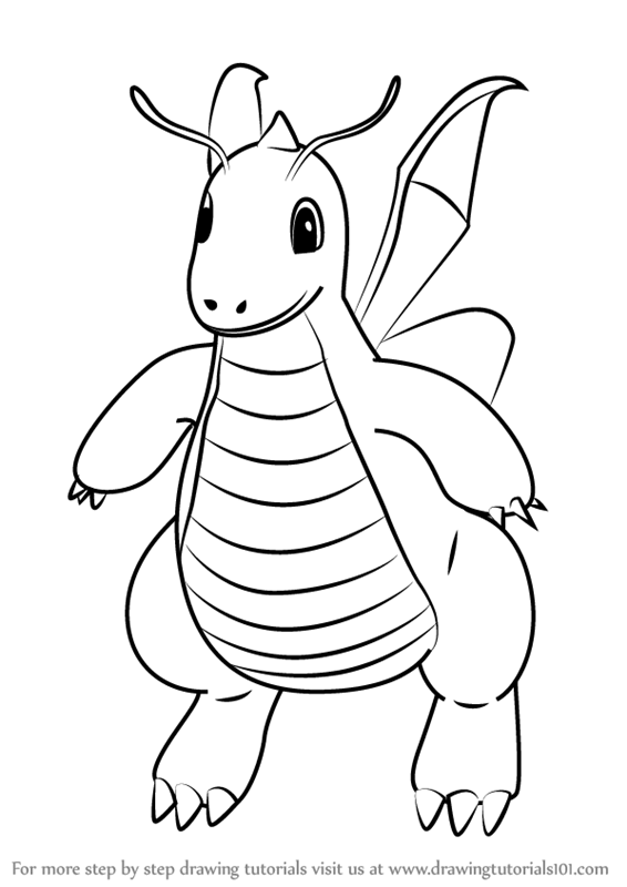 566x800 Learn How To Draw Dragonite From Pokemon Go (Pokemon Go) Step By