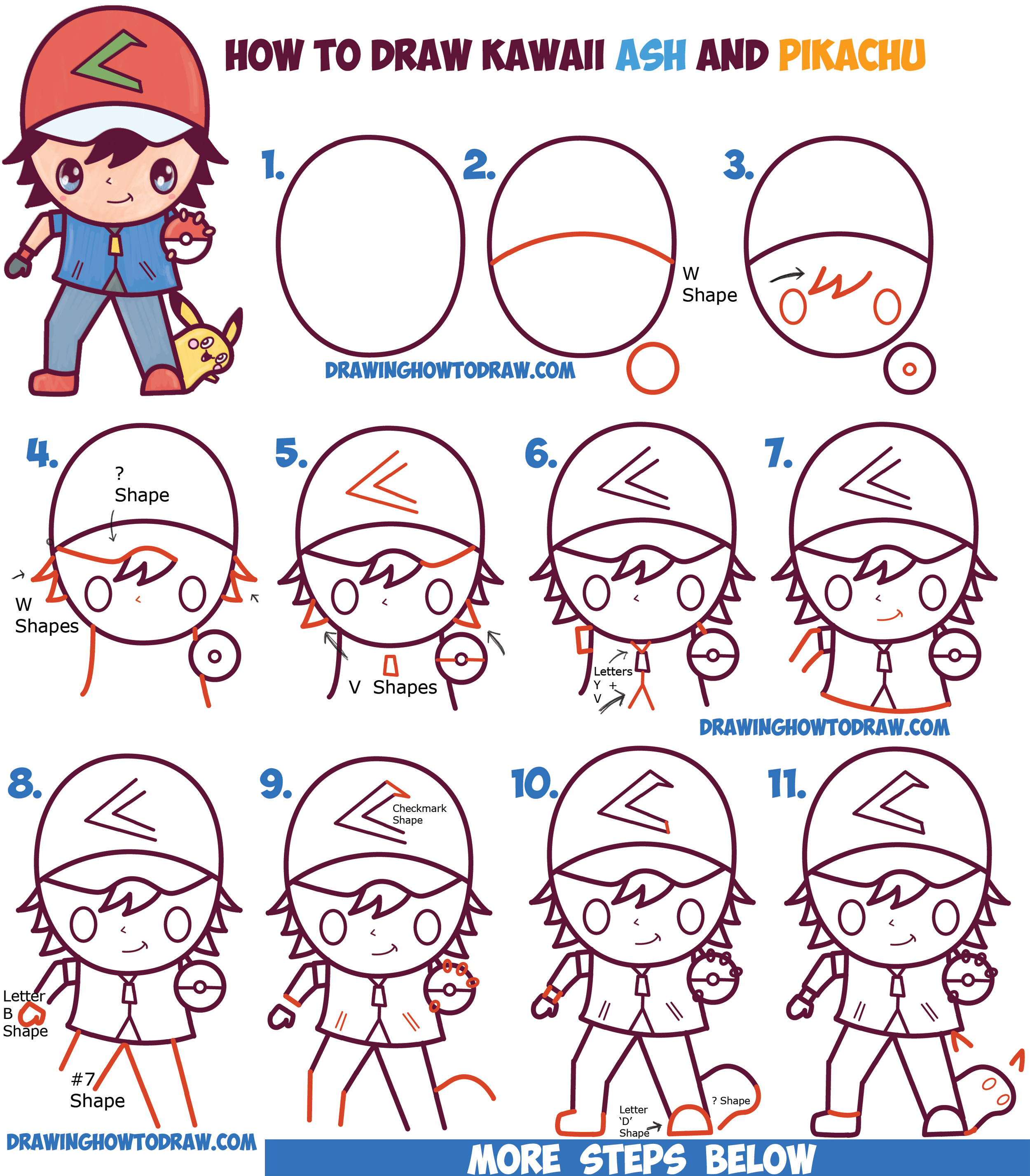 2500x2853 How To Draw Cute Kawaii Chibi Ash Ketchum And Pikachu From Pokemon