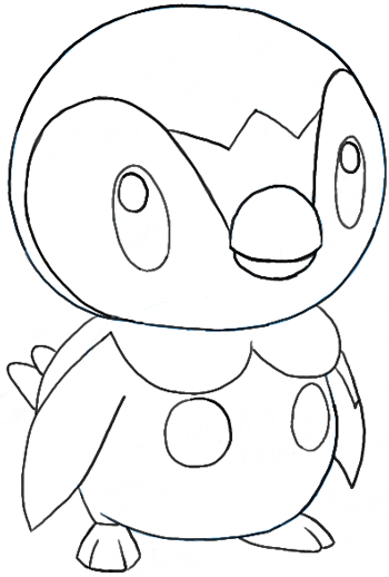 350x518 How To Draw Piplup From Pokemon With Easy Step By Step Drawing